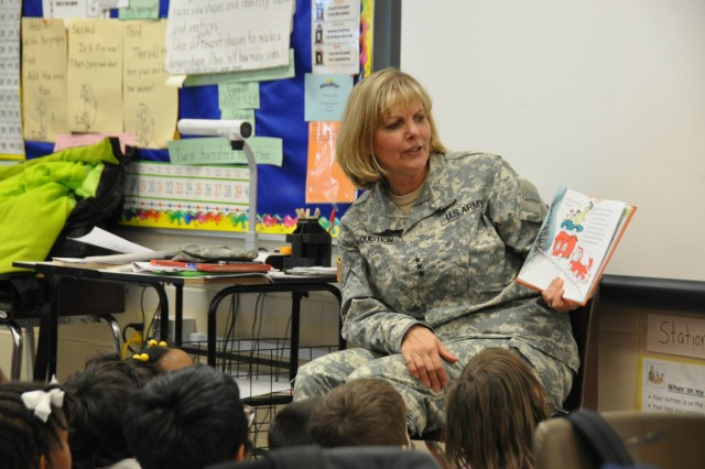 The U.S. Army Materiel Command supported J.E. Williams Elementary for the annual Read across America event, March 5, and the featured guest was Lt. Gen. Patricia McQuistion, AMC?'s deputy commanding general. U.S. Army photo.
