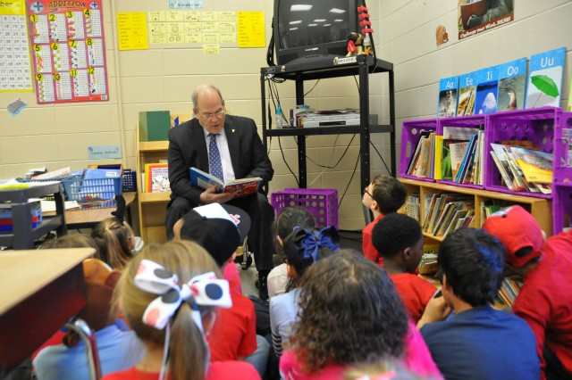 Richard Russell, senior executive at Army Materiel Command, supported J.E. Williams Elementary for the annual Read across America event, March 5. U.S. Army photo.