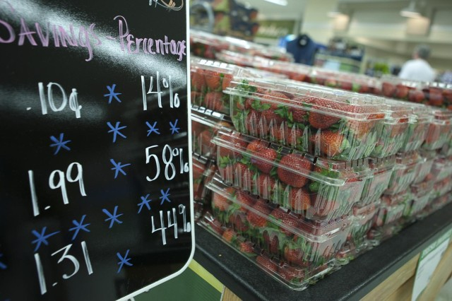 Produce is on display at the commissary on Joint Base Myer-Henderson Hall on March 27, 2012. A trimmer proposed fiscal 2015 Department of Defense budget could lead to higher grocery prices at some nearly 180 commissaries throughout the continental United States according to DoD officials.