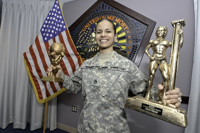 Pentagon chaplain assistant Staff Sgt. Denises Veitia is a competitive bodybuilder.