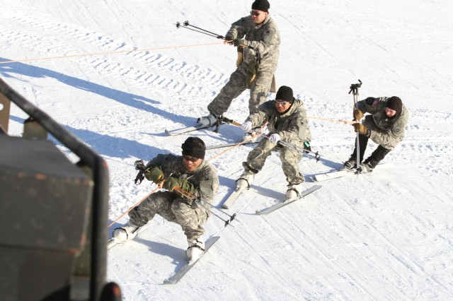 Members of the Japanese Ground Self Defense Force Skijor on Birch Hill at Fort Wainwright, Alaska March 3. (U.S. Army photo by Sgt. Michael Blalack, 1/25 SBCT Public Affairs)