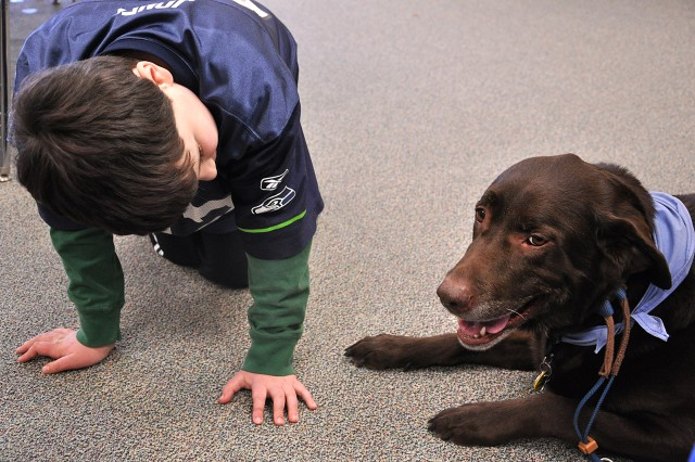 Eight-year-old Cody Mickley looks into Human Animal Bond member Tanya Berg's Labrador retriever Jack's eyes to answer the question of what color they are during a HAB visit to the life-skills class March 4 at MacArthur Elementary School on Fort Leavenworth, Kan. Students in the life-skills and early childhood special education classes answered questions about the HAB dogs, including how many legs they have, which one has longer fur and what letter their names start with, thus incorporating lessons into the pet therapy visit.