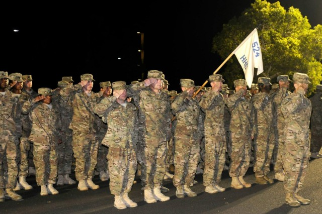 Soldiers from the 524th Combat Sustainment Support Battalion, 45th Sustainment Brigade, 8th Theater Sustainment Command, stand in formation during a redeployment ceremony, March 9, after a nine-month deployment in support of Operation Enduring Freedom. (U.S. Army photo by Staff Sgt. Richard Sherba, 8th Military Police Brigade Public Affairs)