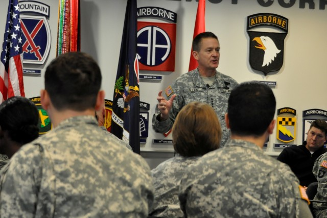 Gen. Daniel B. Allyn, U.S. Army Forces Command commanding general, speaks with Fort Bragg, N.C., Soldiers during a recent roundtable discussion.