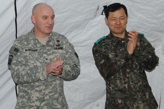 Eighth Army Deputy Commander for Operations. Brig. Gen. Brian J. McKiernan (left) thanks U.S. and South Korean service members during Key Resolve 2014.
