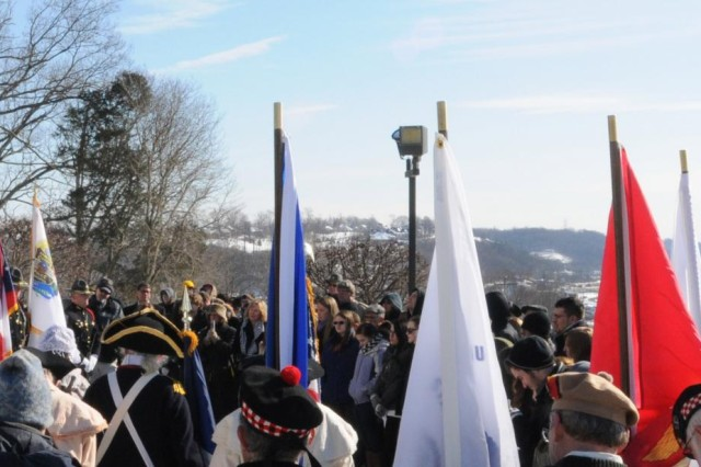 "Members of the local community, civic patriots, history enthusiasts, elected officials, and students gather in tribute to President William H. Harrison at his Memorial during a wreath ceremony in his honor, North Bend, Ohio, Feb. 7, 2014. Army Reserve Maj. Gen. Karen LeDoux, commanding general of the 88th Regional Support Command, gave tribute to Harrison and challenged others to follow his example. ""He was the son of one of the Founding Fathers of our nation, and as such he was one of the aristocracies of Virginia,"" said LeDoux. ""He could have lived his life in the shadow of his father and lived in the comforts of Virginia, but instead he chose to make his own way and become engaged and involved in the future of our nation.""  Harrison made the choice to serve his country and be involved with the world around him, said LeDoux. ""You too like Harrison have a choice,"" challenged LeDoux. ""How will you engage and how will you make a difference in the course of history?"""