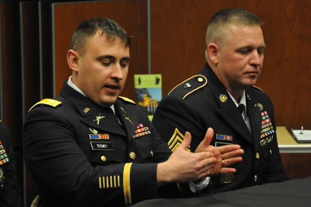 Capt. Frank Toomey and Sgt. 1st Class Charles Hardy address the audience during the panel discussion hosted by the Dale Center for the Study of War and Society at the University of Southern Mississippi February 24th, 2014. (U.S. Army Photo by Sgt. Brad Miller)