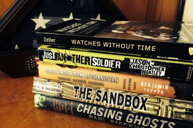 These books are among those written by New York Army National Guard soldiers based on their experiences in Afghanistan and Iraq.