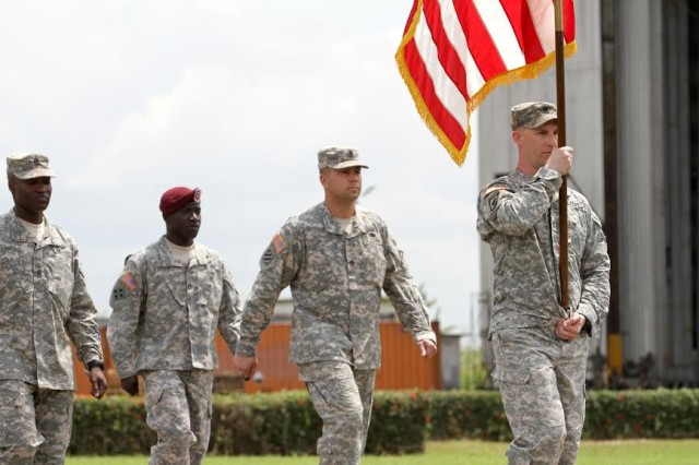American Soldiers march behind the host and partner nations during the opening ceremony for Central Accord 14 at the 102 Air Force Base airfield in Douala Cameroon, March 11. U.S. engagement with countries in Africa is not new. For the past few decades, America has partnered with African militaries. The U.S. commitment to the Central Africa region and to Africa is long-term.