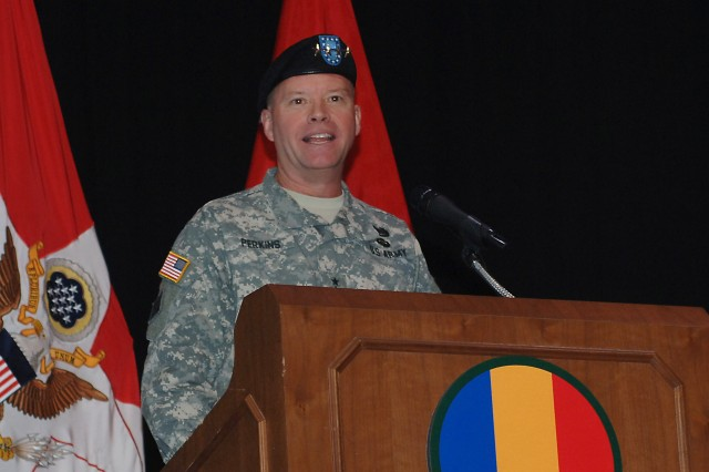 U.S. Army Gen. David Perkins, incoming U.S. Army Training and Doctrine Command commander, addresses the audience during the change-of-command ceremony at Fort Eustis, Va., March 14, 2014. Perkins is the 15th general to take command of TRADOC. Perkins hails from N.H.