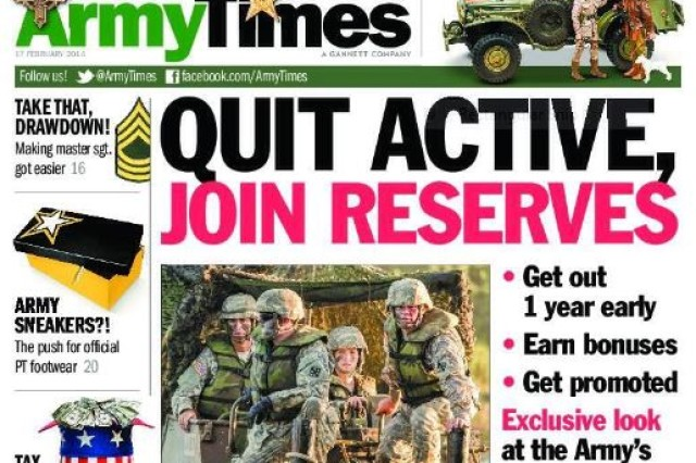 Army Reserve Soldiers with the 411th Engineer Brigade were featured in a photo on the Army Time's front page story, 'Quit Active, Join Reserve'. Article highlights opportunities in the Army Reserve for Active Component Soldiers who are getting out and transitioning to civilian status.  Released Feb. 17, the photo captures 'Brigade of Choice' Soldiers during training at River Assault near Fort Chaffee, Ark.