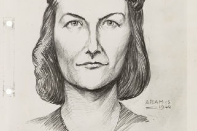 This sketch of Virginia Hall was circulated by the German Gestapo in occupied France.  Heckler was the name of Hall�'s resistance organization in Lyon, France.