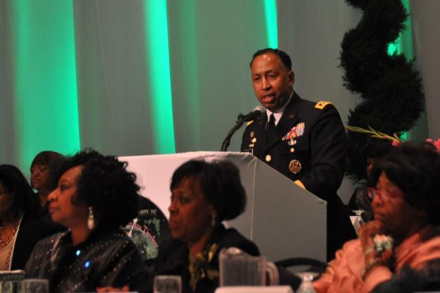 Gen. Dennis L. Via, AMC's commanding general, speaks at the 82nd South East Regional Alpha Kappa Alpha public meeting at the Von Braun Center  March 14, 2014.