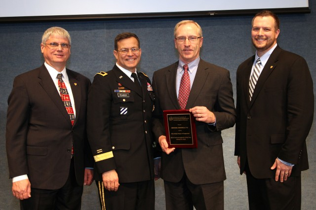 Maj. Gen. John W. Peabody (Second from Left), U.S. Army Corps of Engineers deputy commanding general for Civil and Emergency Operations; Robert A. Green, president of the National Society of Professional Engineers (Left), and David Scott Wolf, NSPE board member; pose with Mike Zoccola, chief of the Nashville District Civil Design Branch, during the Federal Engineer of the Year Banquet Feb. 20, 2014 at the National Press Club in Washington D.C.  Zoccola, the 2013 Corps of Engineers Engineer of the Year, was honored as one of 10 finalists for the FEYA by the National Society of Professional Engineers. (USACE photo by F.T. Eyre)