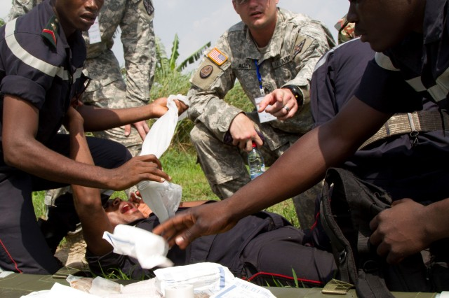 Medical professionals from the U.S. Army Reserve's 3rd Medical Command are providing support and training African armies in emergency medicine at Exercise Central Accord 14. Central Accord 14 is a U.S. Army Africa-led multinational exercise hosted by Cameroon. The exercise brings together approximately 1,000 troops from eight nations including the United States, Nigeria, Gabon, Burundi, Republic of Congo, Chad and the Netherlands. U.S. participants include contingents from the Army, Air Force, Marine Corps, Navy, and the Air and Army National Guards.