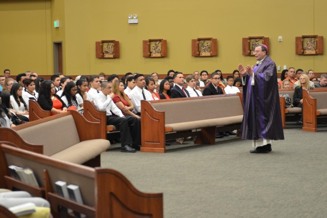 Bishop Neal Buckon, the Archdiocese for the Military Services, USA, speaks of the importance of Confirmation to those who so desire to receive it during a sacrament March 15 at the Spirit of Fort Hood Chapel. Buckon explained the meaning of Confirmation as a time in one's life when they accept responsibility for their faith and destiny.