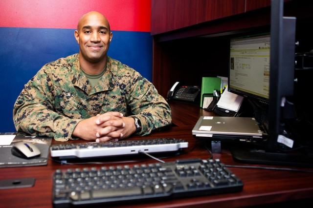 Gunnery Sgt. William Hart, career planner, poses for a photograph in his office in Building 29 on the Henderson Hall portion of Joint Base Myer-Henderson Hall March 5, 2014.