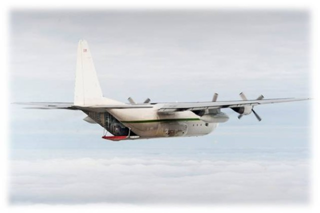 The C-130 aircraft that was used in the Arctic Demo in October 2013. The demo was the first one to test the ability of the Manpack Radio to reach the Mobile User Objective System (MUOS) satellite communications network at very high latitudes. (U.S. Army photo)