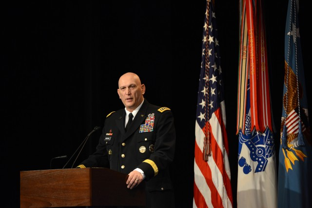 Chief of Staff of the Army Gen. Ray Odierno speaks at the Pentagon Hall of Heroes event, March 19, 2014, honoring 24 Soldiers from the Vietnam War, Korean War, and World War II, who received the Medal of Honor the previous day.