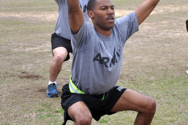 Staff Sgt. Brice Smith is one of five Reserve Soldiers who graduated Phase I of the Master Fitness Trainer Course at Fort Jackson, S.C., March 14, 2014.