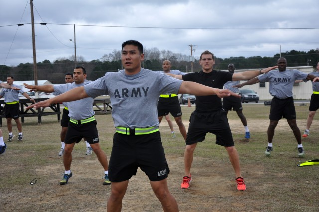 Staff Sgt. Reynaldo Valentin is one of five Reserve Soldiers who graduated Phase I of the Master Fitness Trainer Course at Fort Jackson, S.C., March 14, 2014.