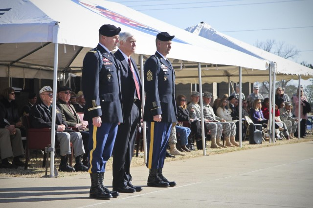 Col. Val C. Keavney Jr. (left), commander of the 4th Brigade Combat Team, 101st Airborne Division (Air Assault), Col. (ret) Bob Seitz (middle), honorary colonel of the 506th Infantry Regiment, and Command Sgt. Maj. Franklin Velez (right), command sergeant major of 4th BCT, 101st Abn. Div., hosted an induction ceremony, March 13, 2014, for Distinguished and Honorary members of the 506th Infantry Regiment, at the 4th BCT Headquarters on Fort Campbell. (U.S. Army photo by Sgt. Justin A. Moeller, 4th Brigade Combat Team Public Affairs)