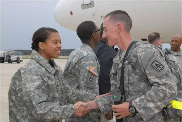 CH (Capt.) Alison Ward greets Soldiers returning from deplyment at Fort Bragg