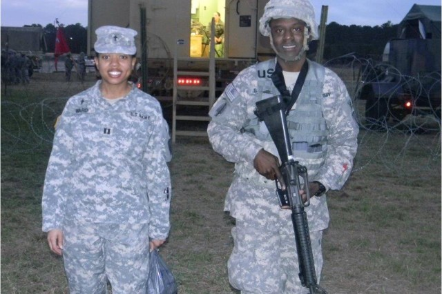 The 1-7 Air Defense Artillery Battalion Unit Ministry Team visiting Soldiers during a Field Exercise at Fort Bragg, NC in October 2010.