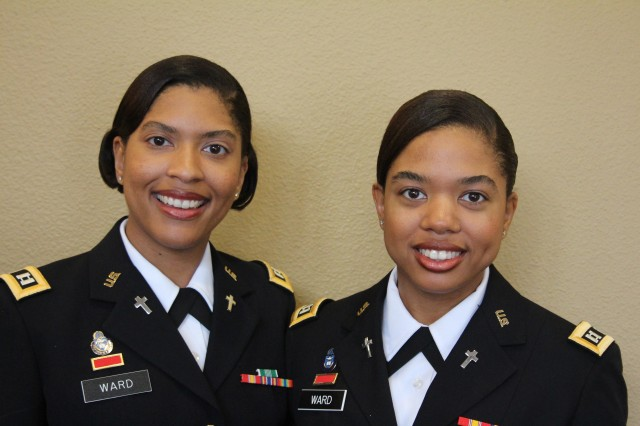 Sisters and Chaplains LeyAnne and Alison Ward both accessioned onto active duty as chaplains in September of 2012 and both are assigned to units at Fort Bragg, NC.  CH (CPT) Alison Ward serves with the 1-7 Air Defense Artillery Battalion Chaplain and CH (CPT) LeyAnne Ward serves with the 1-22 Aviation Support Battalion.