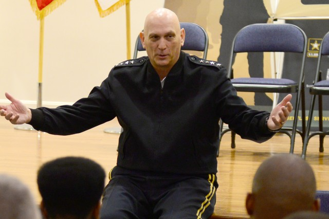 Army Chief of Staff Gen. Ray Odierno hosts a sensing session with students of the first graduating class of the SHARP School House on Fort Belvoir, Va., March 21, 2014.
