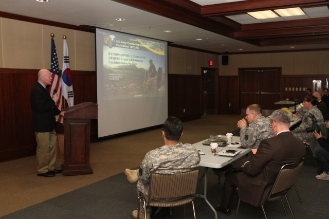 Nathan E. Acree Jr., contracting officer for the Information Technology Division of U.S. Army Contracting Command - Rock Island, explained the purpose of Industry Day.