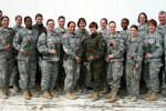 Female soldiers at MNBG-E pose for group photo at Camp Bondsteel, Kosovo