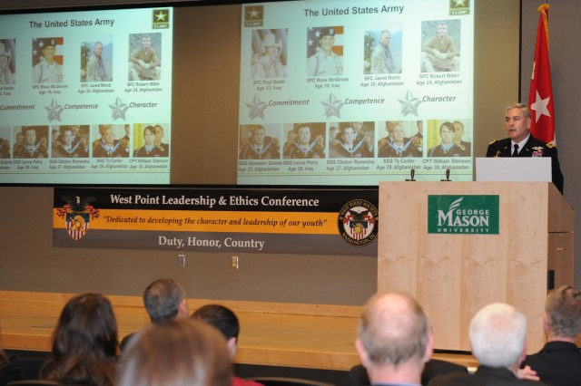 """Army Vice Chief of Staff Gen. John F. Campbell speaks to more than 200 delegates from 45 high schools in Virginia, Maryland and the District of Columbia, who were attending the seventh annual West Point Leadership and Ethics Conference at George Mason University, March 20, 2014. The general spoke on """"Living an Honorable Life."""