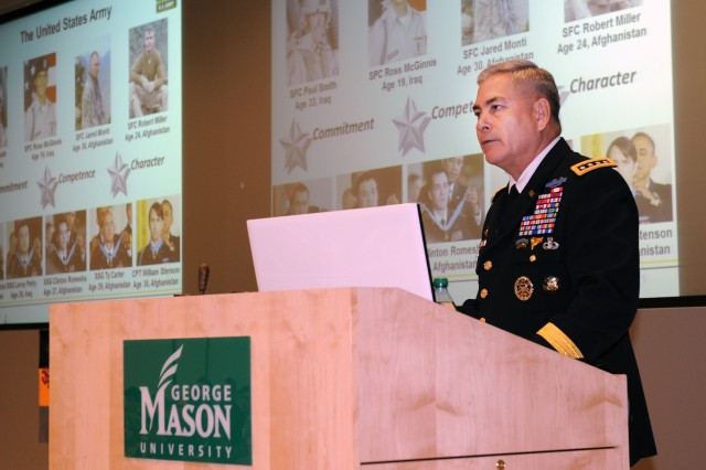 """Army Vice Chief of Staff Gen. John F. Campbell speaks to more than 200 delegates from 45 high schools in Virginia, Maryland and the District of Columbia who were attending the seventh annual West Point Leadership and Ethics Conference at George Mason University, March 20, 2014. The general spoke on """"Living an Honorable Life."""