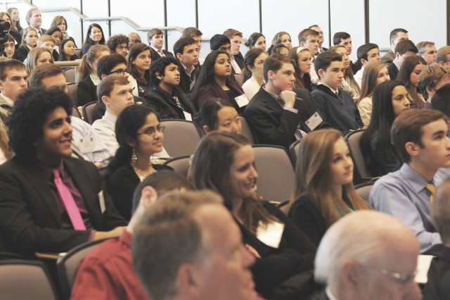 """More than 200 delegates from 45 high schools in Virginia, Maryland and the District of Columbia, attend the seventh annual West Point Leadership and Ethics Conference at George Mason University, March 20, 2014. The one-day conference them was """"Living an Honorable Life."""