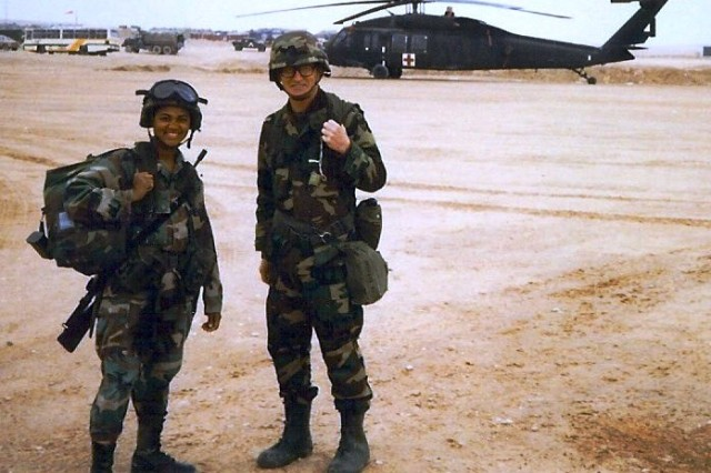 Sgt. Danita Austin and Chaplain Bernans worked together as a Unit Ministry Team during Desert Shield Desert Storm. Today women make up almost one third of the Chaplain Corps' chaplain assistant population.