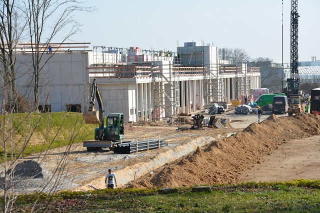 A look at progress on the new Army and Air Force Exchange in Hainerberg Housing was a stop on the media tour March 11.