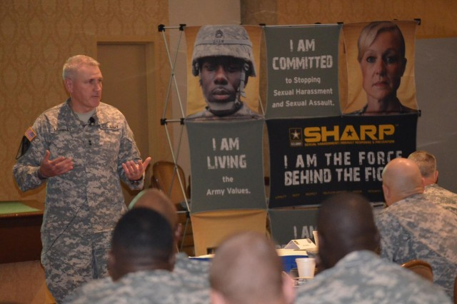 Maj. Gen. John M. Murray, 3rd Infantry Division commanding general, addresses senior leaders, March 21, 2014, from Fort Stewart-Hunter Army Airfield, on the way ahead for sexual harassment/assault response and prevention in the Army at Club Stewart, on Fort Stewart, Ga.