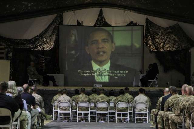 "BAGRAM AIRFIELD, Afghanistan (March 26, 2014) "" President Barack Obama provided a speech to the 11 Servicemembers deployed to Afghanistan after becoming U.S. citizens during the Regional Command-East Naturalization Ceremony, March 26, 2014, at Bagram Airfield, Afghanistan. (U.S. Army photo by Master Sgt. Kap Kim, Combined Joint Task Force-10 Public Affairs Office) (Released)"