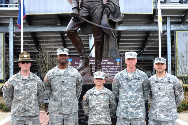 The Fort Jackson Bataan Memorial Death March team poses in front of Andrew Jackson's statue at Hilton Field before travelling to White Sands Missile Range, N.M., to participate in the Bataan Memorial Death March.