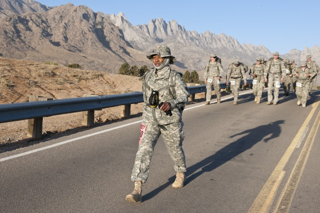 Maj. Doris Haynes, U.S. Army South information systems manager, marches during the 25th Bataan Memorial Death March at White Sands Missile Range, N.M. March 23.