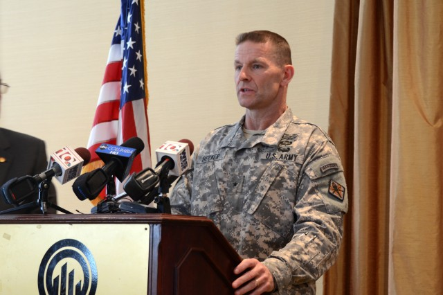 Brig. Gen. Bradley Becker, Fort Jackson's commanding general, speaks at a press conference following a meeting with local community leaders at the Greater Columbia Chamber of Commerce March 20. Becker explained the effects of possible sequestration-level budget cuts in 2016.