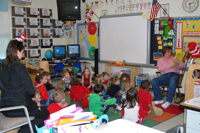 Stacey Hull, a supply technician in ARL's laboratory operations, read to a class of 21 kindergarteners for Read Across America Day. Hull read If I Ran the Circus by Dr. Seuss.