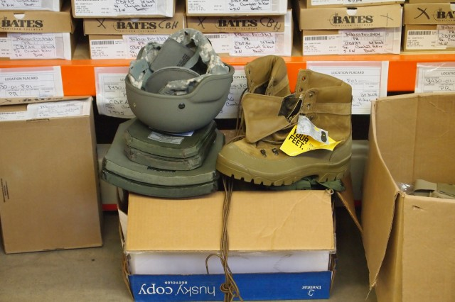 Army-issued equipment such as the helmet and pair of boots pictured can result in a Soldier's financial liability if not returned properly. Lost, damaged or stolen Army property can be subject to Financial Liability Investigation of Property Loss, the procedure the Army uses to recover the property
