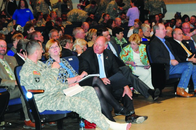 "About 700 educators, state legislative delegates, Fort Polk officials and parents gathered at Fort Polk's Bayou Theater March 27 for the first-ever Education Symposium. The event was part of the Education Initiave, a partnership of community stakeholders that aim to bring Vernon Parish School District Education from ""good to great."" From left is Brig. Gen. William B. Hickman, commander of the Joint Readiness Training Center and Fort Polk; Stephanie Hoehne, the Installation Management Command's Deputy Chief of Staff for FMWR; and Joe Hill, Civilian Aide for the Chief of Staff of the Army."