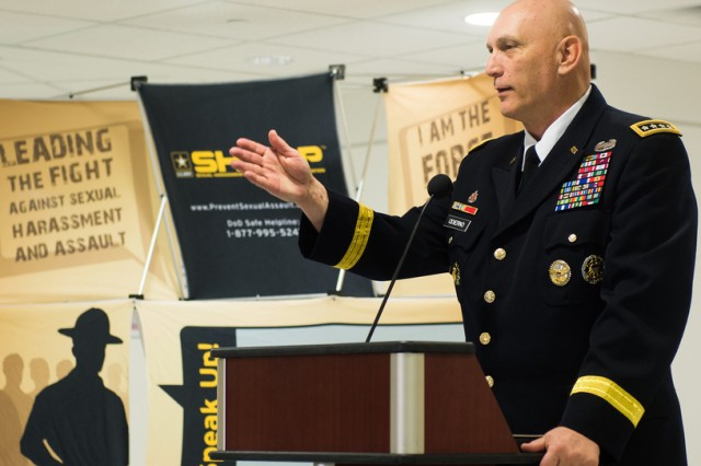 Army Chief of Staff Gen. Ray Odierno speaks at a Pentagon ceremony marking the start of Sexual Assault Awareness Month, observed in April.