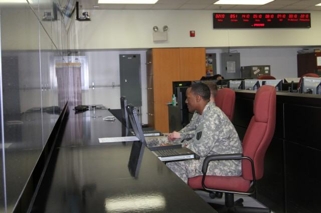 Soldiers update systems inside the 6th Regional Cyber Center-Korea