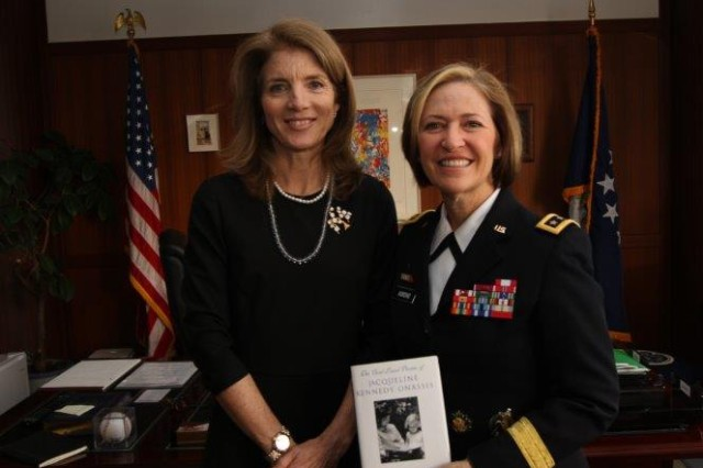 The U.S. Army Surgeon General Lt. Gen. Patricia D. Horoho meets with the Honorable Caroline Kennedy, U.S. Ambassador to Japan. The two exchanged gifts as is custom in the area.