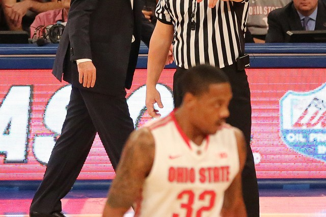 Retired Sgt. 1st Class Donnie Eppley calls a foul against Ohio State's Lenzelle Smith Jr., during a recent game.