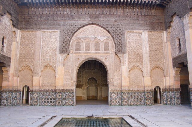 The Medersa Ben Youssef, a former Islamic college, now serves as a historical site for visitors to view the golden age of Moroccan architecture